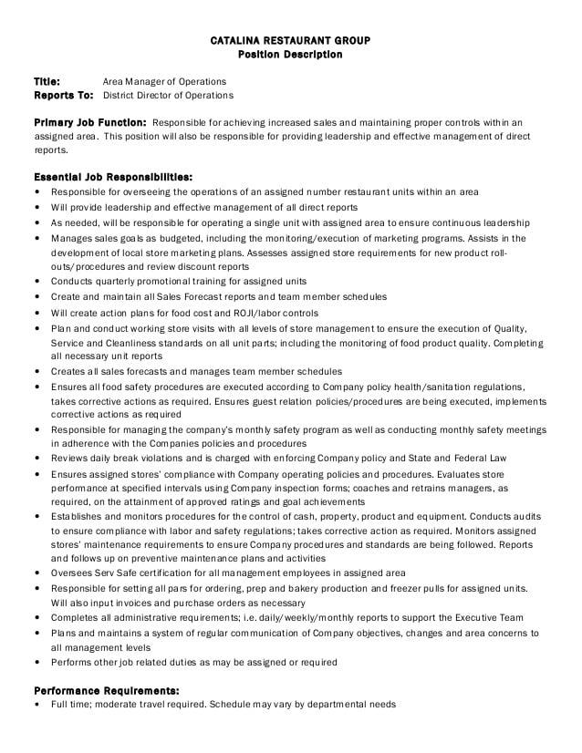 restaurant-chain-area-manager-job-responsibilities