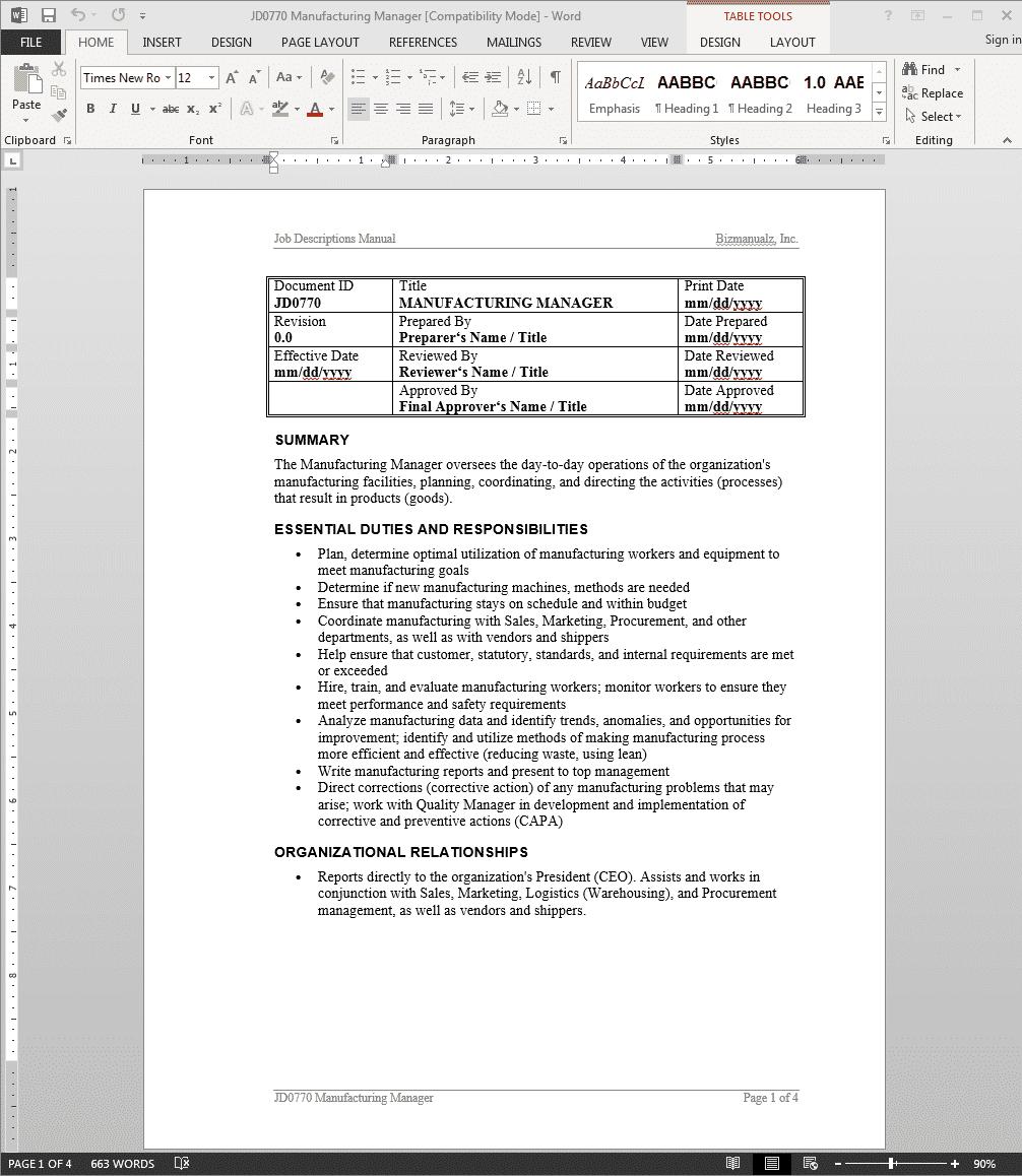 manufacturer-job-responsibilities