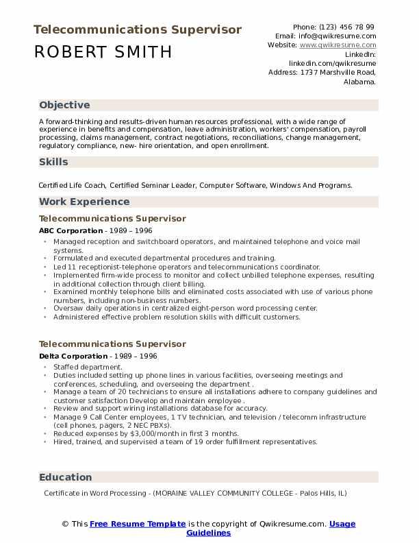 telecommunications-supervisor-job-responsibilities