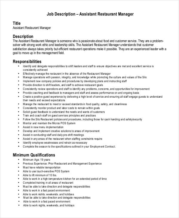 restaurant-assistant-job-responsibilities