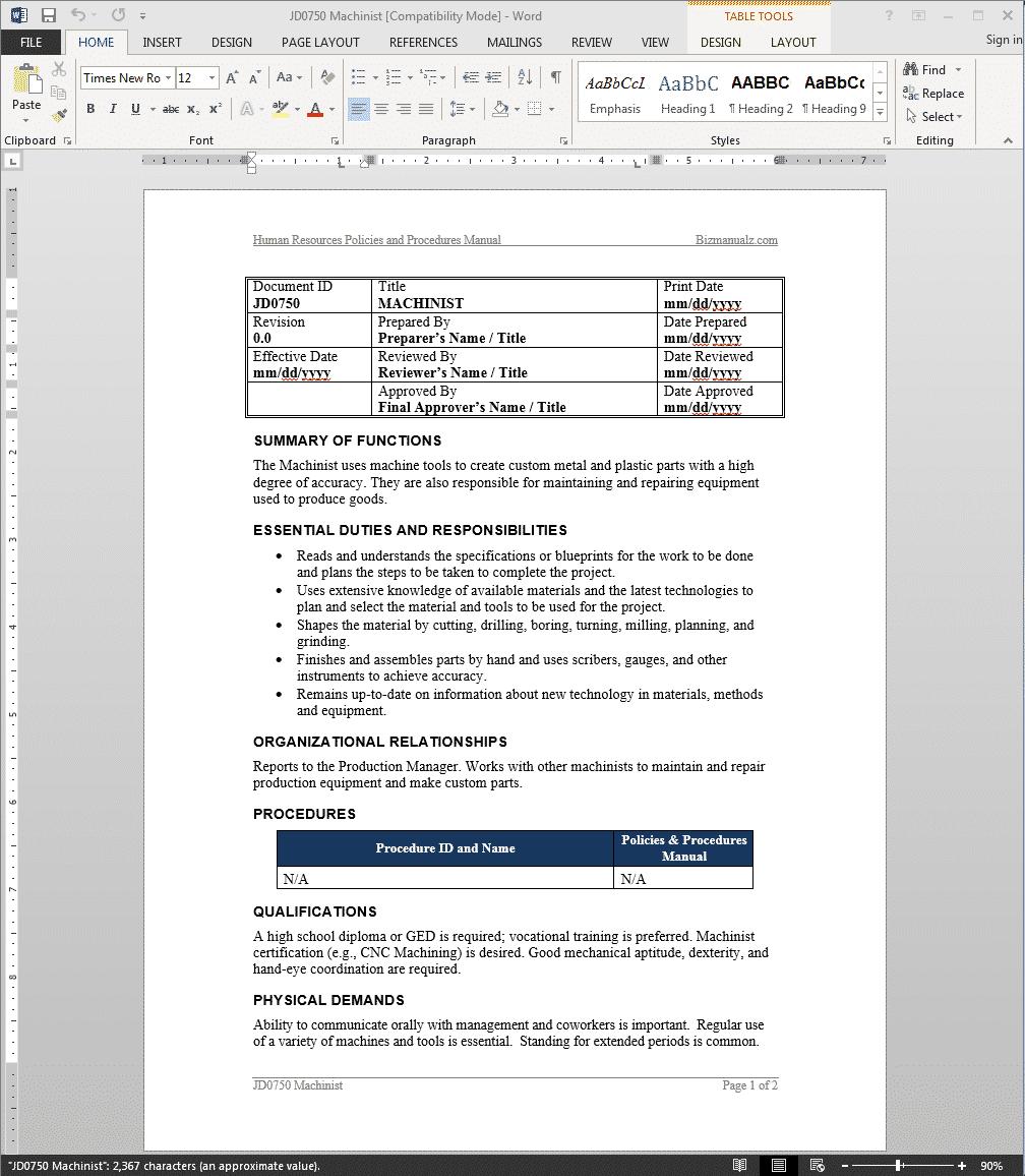 machinist-job-responsibilities