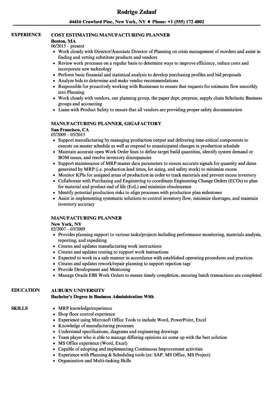 manufacturing-planner-job-responsibilities