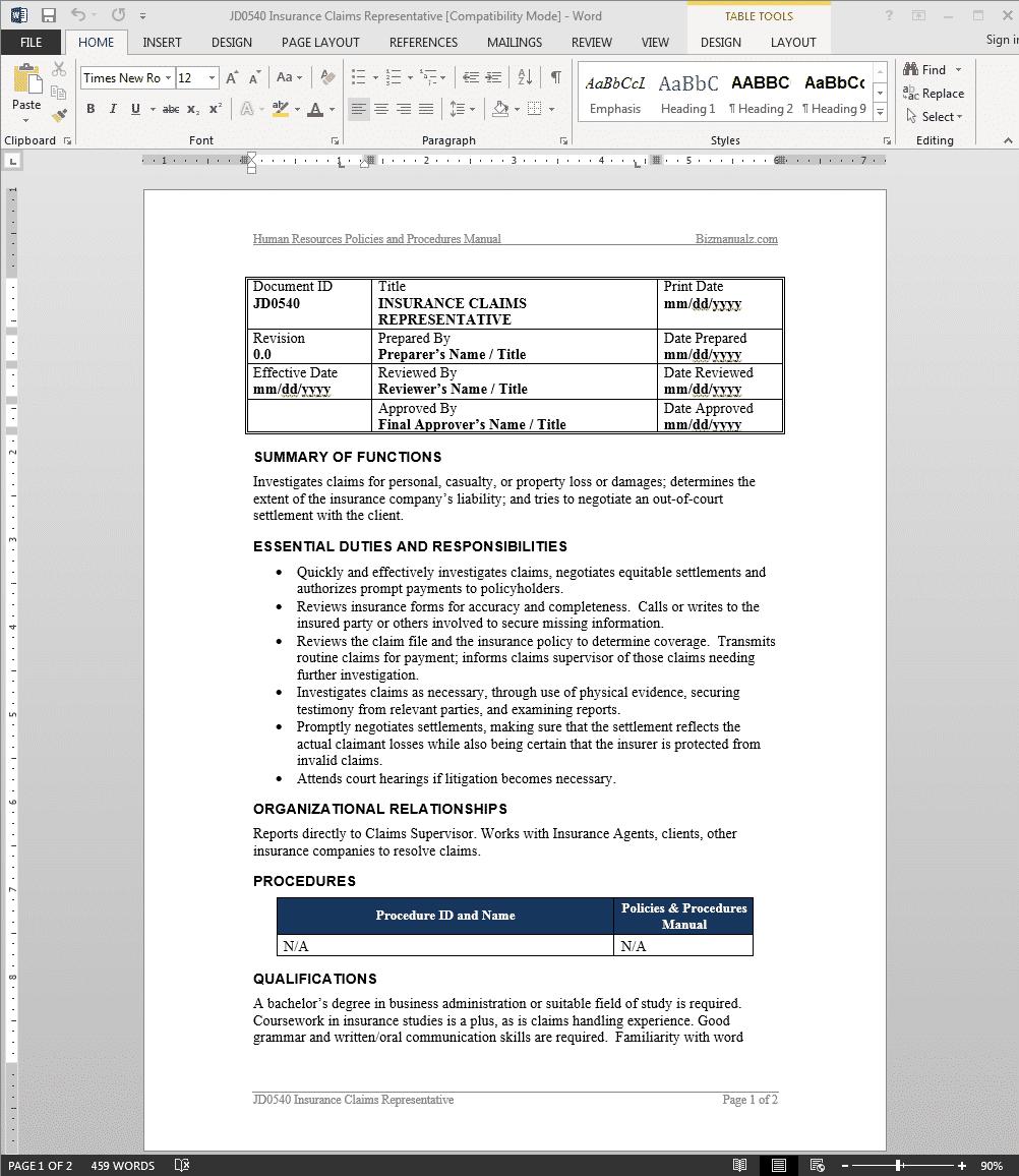 insurance-claims-job-responsibilities
