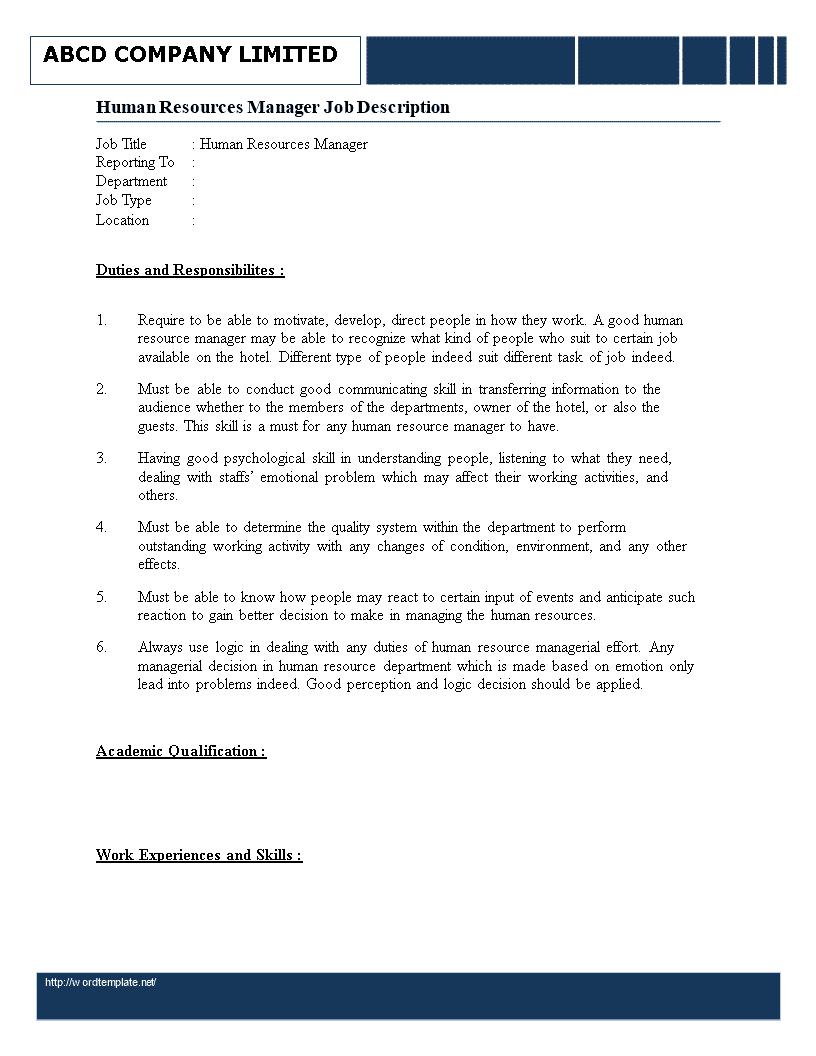 human-resource-manager-job-responsibilities