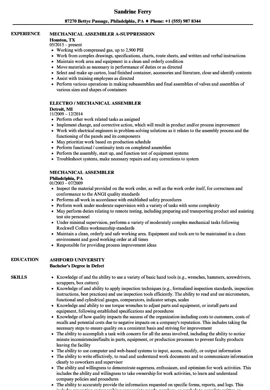 mechanical-assembler-job-responsibilities