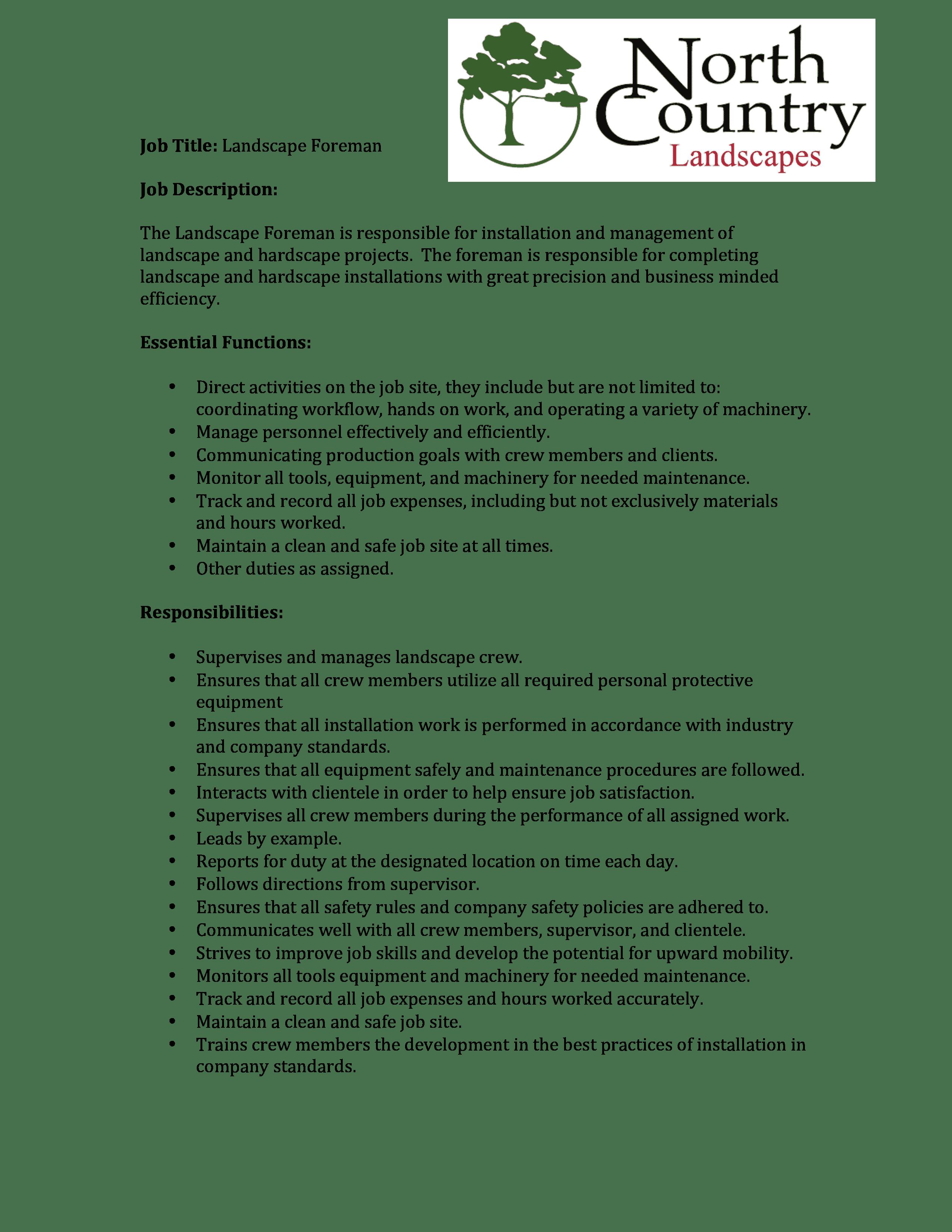 landscape-foreman-job-responsibilities