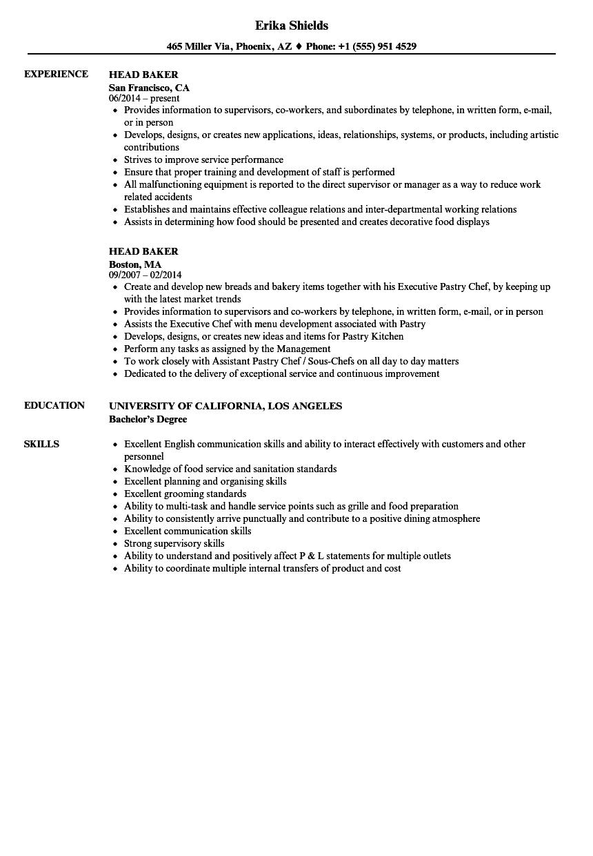 head-baker-job-responsibilities