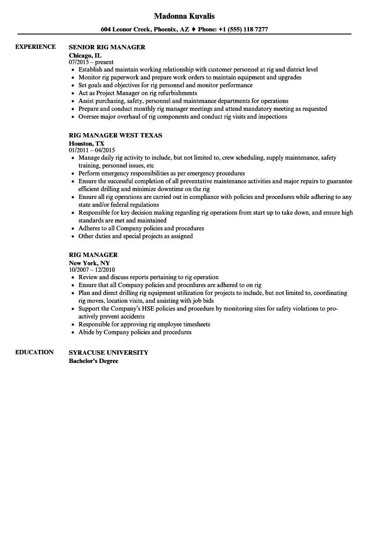 oil-rig-manager-job-responsibilities
