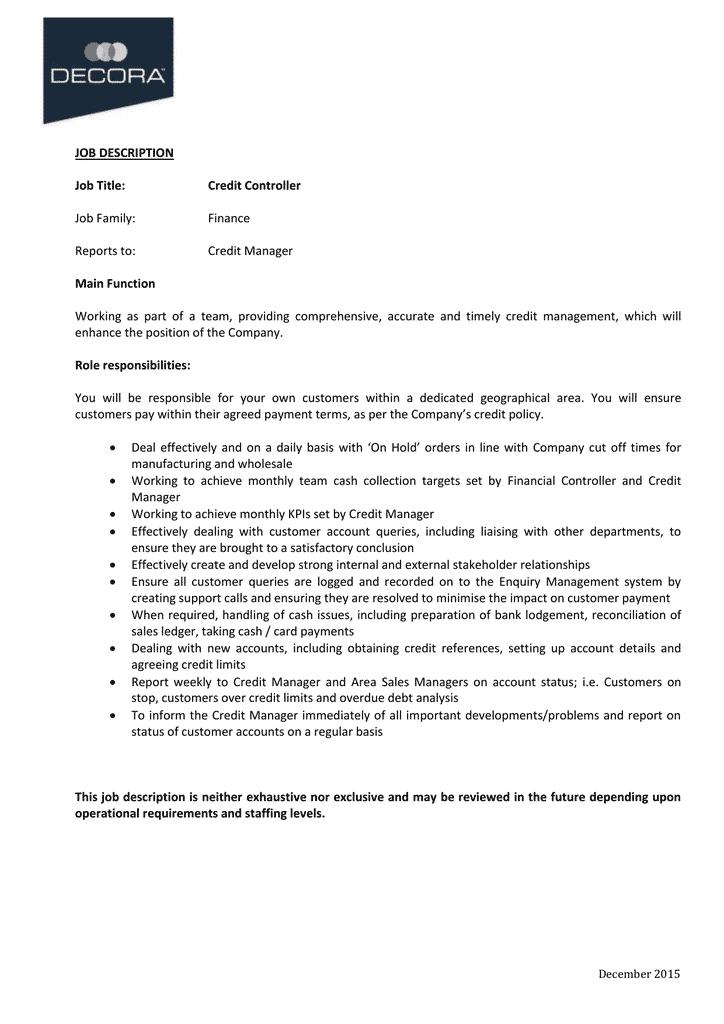credit-controller-job-responsibilities