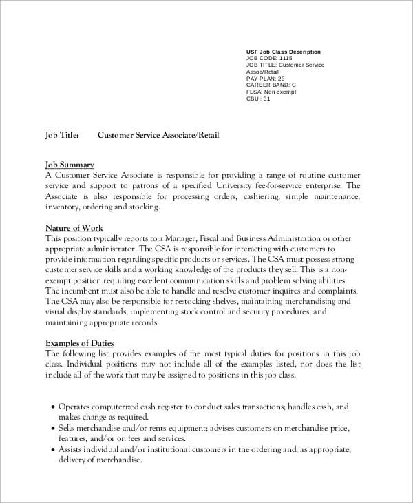 retail-customer-service-job-responsibilities