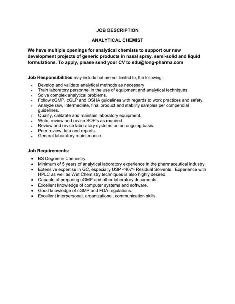 analytical-chemist-job-responsibilities