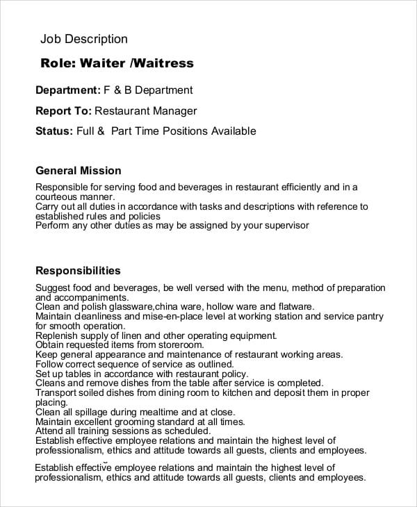 waitress-job-responsibilities