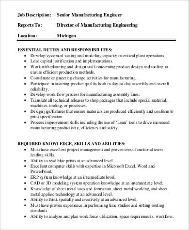 manufacturing-engineer-job-responsibilities