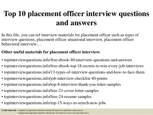 job-placement-officer-responsibilities