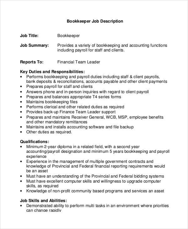 book-keeper-job-responsibilities