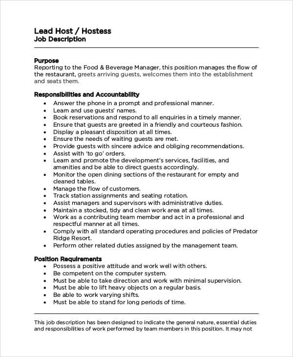 restaurant-hostess-job-responsibilities