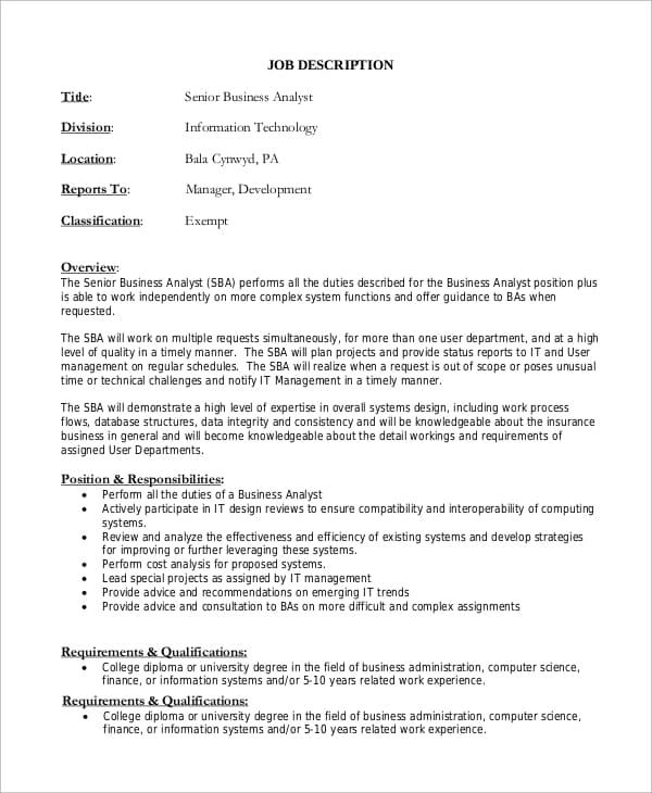 senior-business-analyst-job-responsibilities