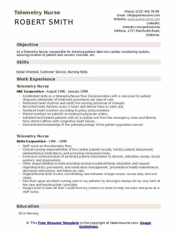 telemetry-nurse-job-responsibilities