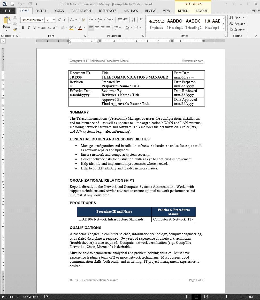 telecommunications-manager-job-responsibilities