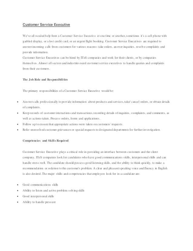 customer-service-executive-voice-process-job-responsibilities