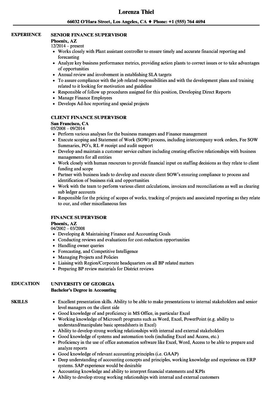 finance-supervisor-job-responsibilities